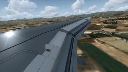 Landing at Mallorka Airport (spain) !fsx