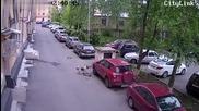 Камера заснема как улично куче нанася повреда на паркиран на улицата джип !