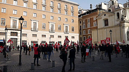 Italy: Communist Party supporters protest against Draghi government in Rome