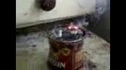 химични опити - - - искряща смес от калиев перманганат и алуминий на прах