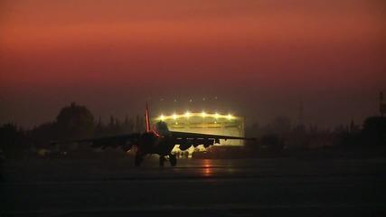 Syria: Sukhoi jets take to the skies as sun sets over Latakia