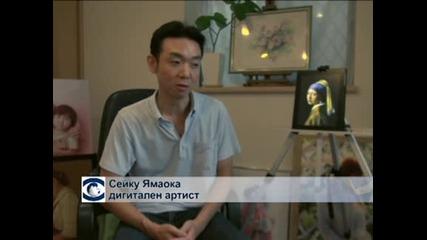 Художник рисува класически картини на айпада си