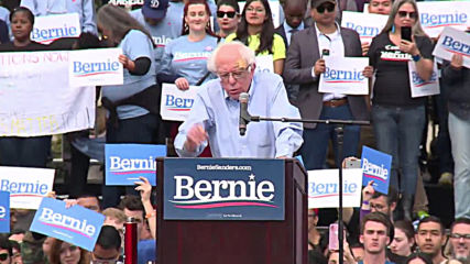 USA: Bernie Sanders' supporters turn out for LA campaign rally