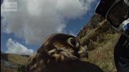 Сокол се състезава с колоездач.ето какво вижда сокол когато лети.