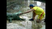 Опасна близост между човек и огромен крокодил