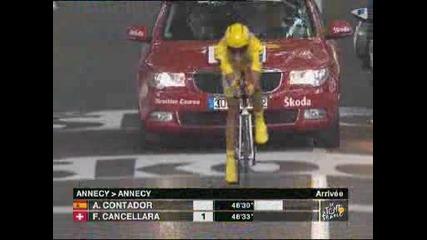 23.07 Алберто Контадор спечели часовника в 18тия етап и си подсигури крайната победа
