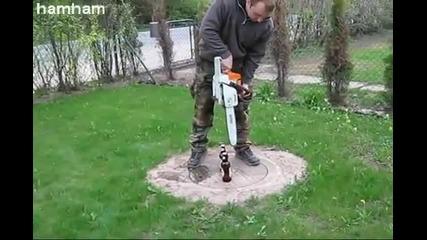 Отваряне на бира със резачка