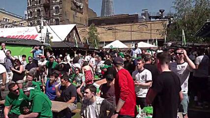 UK: England fans celebrate in London as Sterling opens scoring against Croatia