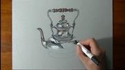 Страхотна реалистична рисунка на сребърен чайник!