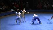 Кенгуру пребива човек в цирк.