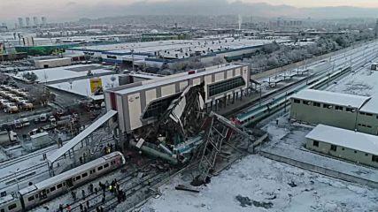 Turkey: Drone captures wreckage of train crash that left four dead