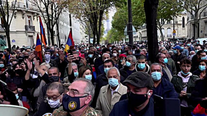 France: Pro-Armenian rally held in front of Azeri embassy over Nagorno-Karabakh conflict