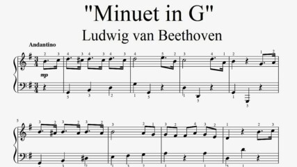 """Ludwig van Beethoven - Minuet in G"" - Piano sheet music (by Tatiana Hyusein)"