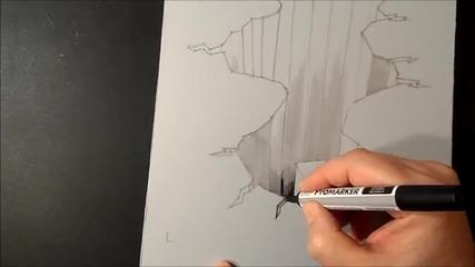 трик. 3d рисунка на лист, илюзия. : )