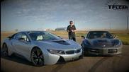 2015 Chevy Corvette Stingray vs Bmw i8 - Драг състезание и демонстрация на хибридната технология
