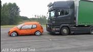 Тестване на спирачките на камион - Scania