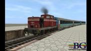 Bdz 55 Arrive at station Karnobat with 44 series Wagons