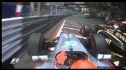 F1 Гран при на Монако 2012 - кадри от болида на Schumacher от инцидента с Grosjean [hd][onboard]