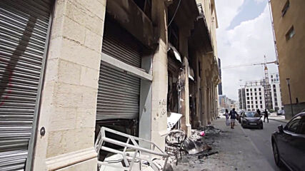Lebanon: Burned out vehicles and damaged buildings in aftermath of Beirut protests
