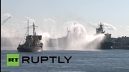 Russia: Icebreakers and tugs WALTZ on Neva River to mark 70th anniversary of WWII