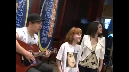 Selena Gomez dances to Kesha Tik - Tok and sings Jason Mraz Im Yours on Kidd Kraddick