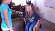 Emily and Brooke break a chair and fall