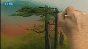 S21 Радостта на живописта с Bob Ross E05 Cabin At Trails End ღобучение в рисуване, живописღ