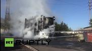 Украйна: Пожарникари се борят с горящата елекроцентрала в Горловка