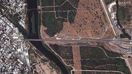 USA: Satellite images show thousands of migrants at Del Rio bridge *STILLS*
