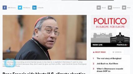 Pope Francis Aide Blasts U.S. Climate Skeptics