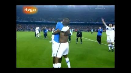 Радоста на Моутиньо и Интер след победата срещу Барселона.hd