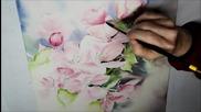 Рисуване на черешов цвят /акварел/-част 3/5