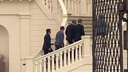 Germany: Merkel and Obama meet Hollande, Cameron, Renzi at Herrenhausen Castle