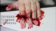 """Зловещ грим за Хелоуин - как се прави ефект """"отрязани пръсти"""""""