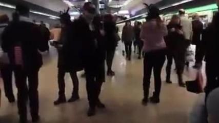 """Загадъчен цигулар с маска изненада пътниците в метрото с прекрасно изпълнение на """"годишни времена"""" ."""