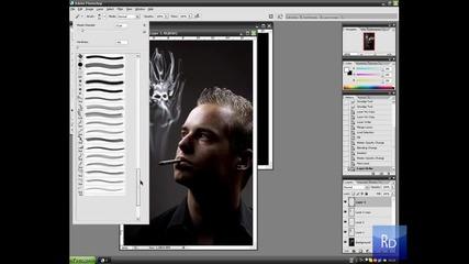 Череп от цигарен дим! (photoshop) + Subs