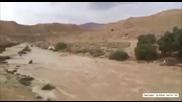 Първата вълна на река Zin, вливащи се в пустинята Негев