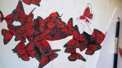 Butterfly Girl Speed Drawing by Lyubomir Dochev