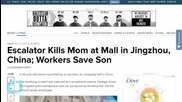 Mom Saves Son Before Being Killed by Escalator
