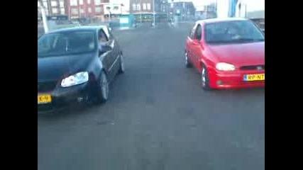 Opel Corsa B gsi vs Vw Golf 5 2.0 Tdi