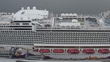 Hong Kong: Drone footage captures quarantined cruise ship amid coronavirus crisis
