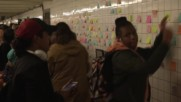 USA: Hundreds of dismayed New Yorkers leave messages on subway wall following Trump's win