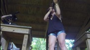 Shooting a Remington 870 Express Synthetic 16ga Pump Shotgun - Girls Shooting Guns