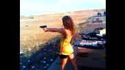 Girl shooting hi-point.