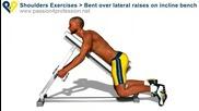Упражнение за рамене с леки дъмбелчета на наклонена пейка в домашну условия