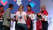 Brazil: Russia's female archery team celebrate silver medal