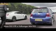 Nissan Gtr vs Vw Golf 4 R32