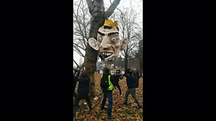 France: Protesters smash Macron pinata in Nantes