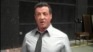 С. Сталоун на снимачната площадка говори за героя си Джеймс Бономо от филма Куршум в Главата (2012)
