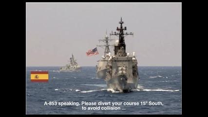Диалог между американски военен кораб и испанци